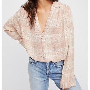 NEW FREE PEOPLE Fearless Love Sequin Plaid Top XS